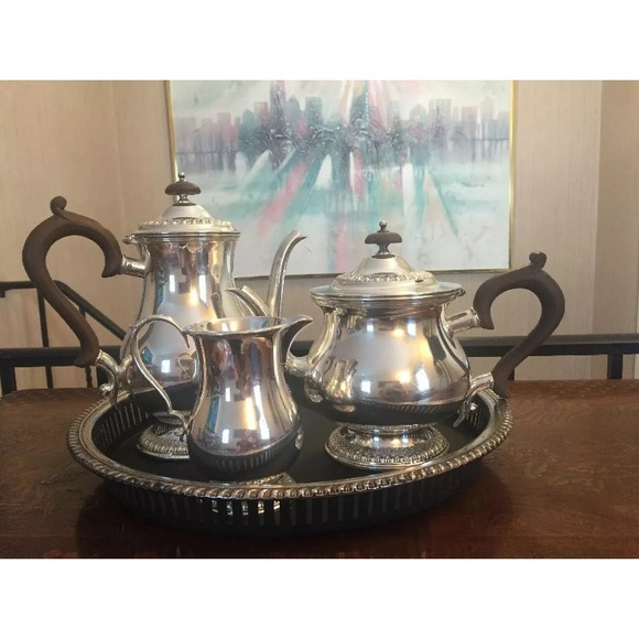 Wilcox Silverplated  Tea Set With Wooden Handles